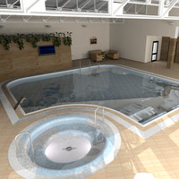 3d interior swimming pool