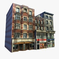 english shops buildings 3d model