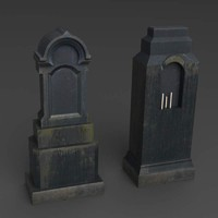 3d black tombstones model