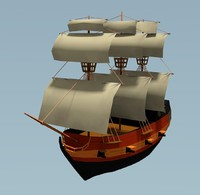 Pirate Ship - Low-Poly