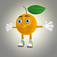 3d lwo cartoon orange