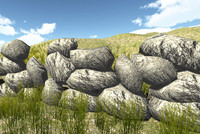wall rock stone castel module system low poly game