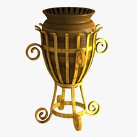 pot decorative flower 3d model