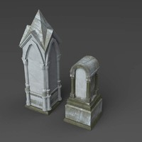 gray tombstones 3d 3ds