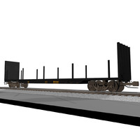 Railroad / Train Car: Flatbed: C4D Format