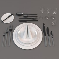 3d model cutlery set