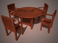 3d garden furniture chairs table model