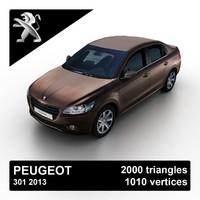 3d model 2013 peugeot 301 sedan