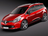 renault clio 2013 estate 3d model