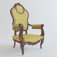 3d model classical chair rococo