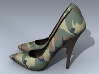 stiletto heel shoes camouflage 3d model