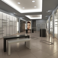 Store interior scene Render Ready: contemporary architecture and modern design of typical Commercial Space in Mall for luxury Boutique, fashion Showroom with clothes, etc.