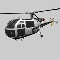 french helicopter alouette iii 3d model