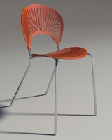 3d model chair trinitad style red