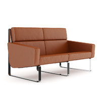 Brown Leather Modern Sofa