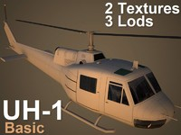 3d model uh-1 basic helicopter
