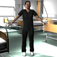 3d male medical staff 05 model