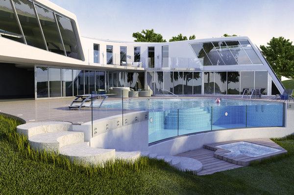 3d modern villa. Black Bedroom Furniture Sets. Home Design Ideas