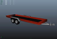 flatbed trailer 3d obj