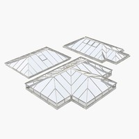 3d model roof-top glass pyramid