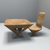 pyramid table chair obj