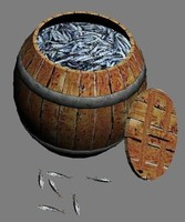 maya wooden barrel fishes