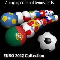 Euro 2012 Football Soccer Balls Flag Collection