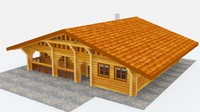 log cabin 3d 3ds