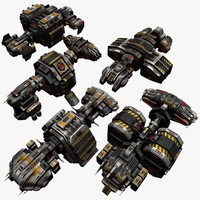 5 transport space ships 3d model