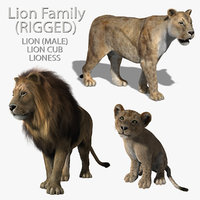 Lions Family (RIGGED) (FUR)