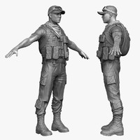 3d model of arab soldier mercenary