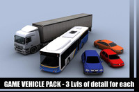 3d model vehicles sedan bus truck