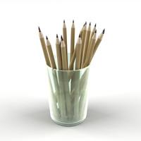 cup pencils 3d obj