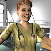 3d female medical staff model