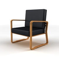 3d model black leather recliner wood chair