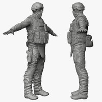 military male soldier - 3d 3ds