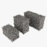 gabion stone walls 3d max