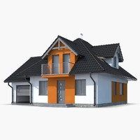 3d family house roof model