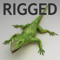 lizard green rigged obj