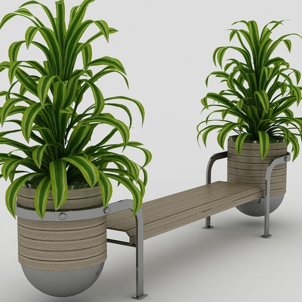 bench plants 3d 3ds - Bench and plants... by feel_funny
