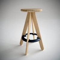 3d model of slab bar stool tom dixon