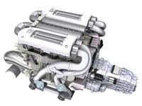 3d model of bugatti veyron engine