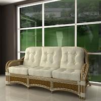 albany rattan sofa 3d 3ds
