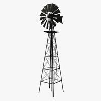 3d model old metal windmill wooden