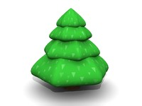 3d model simple cartoon pine tree