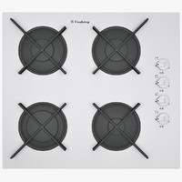 Beige Designer's Gas Hob of Square Shape