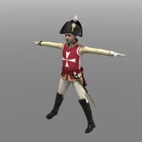 chevalier guard officer 3d model