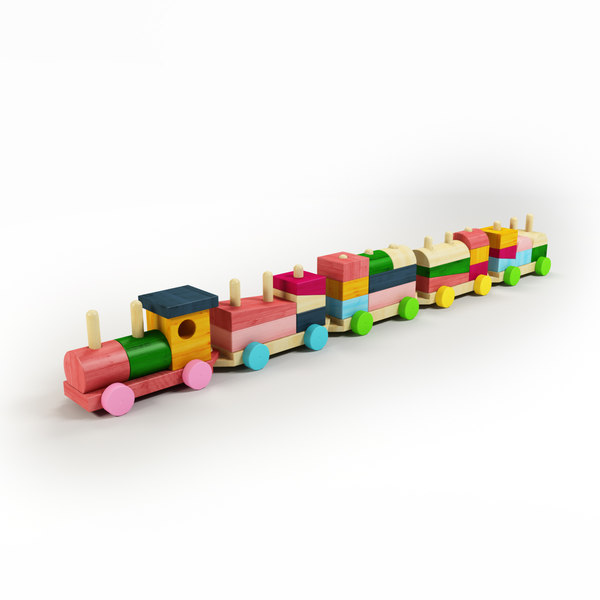 toy train wood 3d model - Toy Wood Train... by convex_shapes