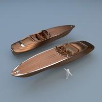 3d model wooden speed boat