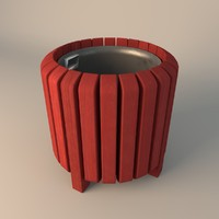 3d model wooden litter bin